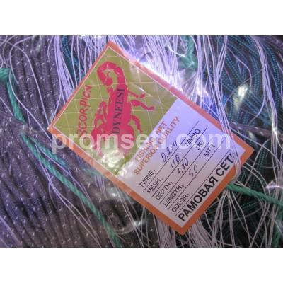 Рамовая сеть Scorpion 110мм х 0.2*4мм х 1.7м х 50м (на шнурах)